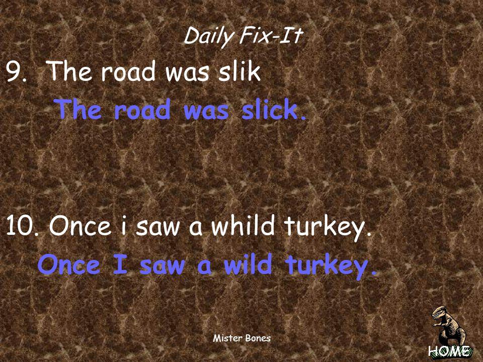 10. Once i saw a whild turkey. Once I saw a wild turkey.