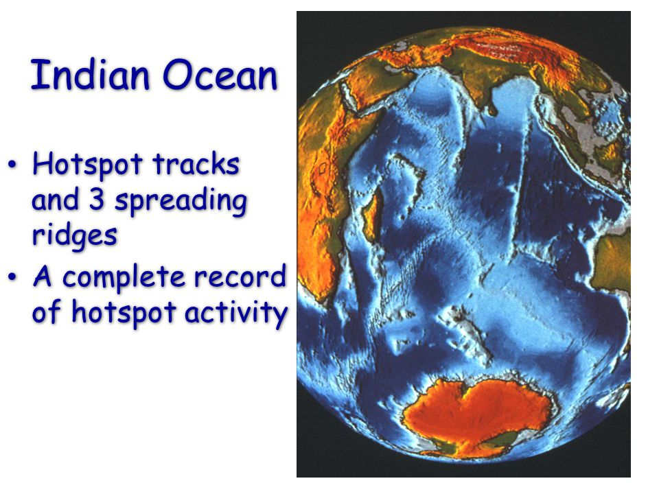Indian Ocean Hotspot tracks and 3 spreading ridges