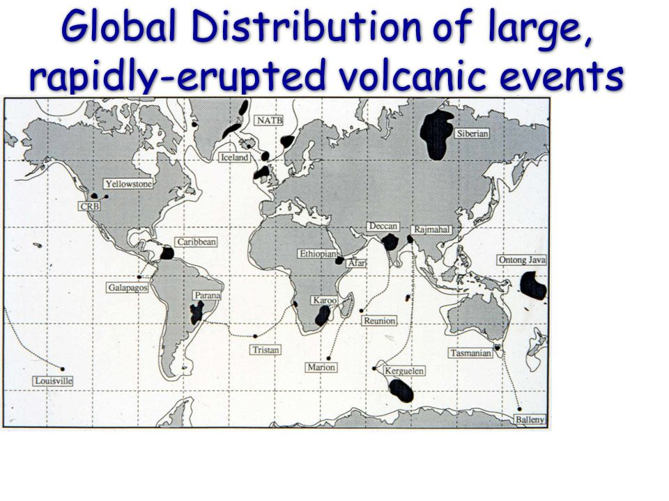 Global Distribution of large, rapidly-erupted volcanic events