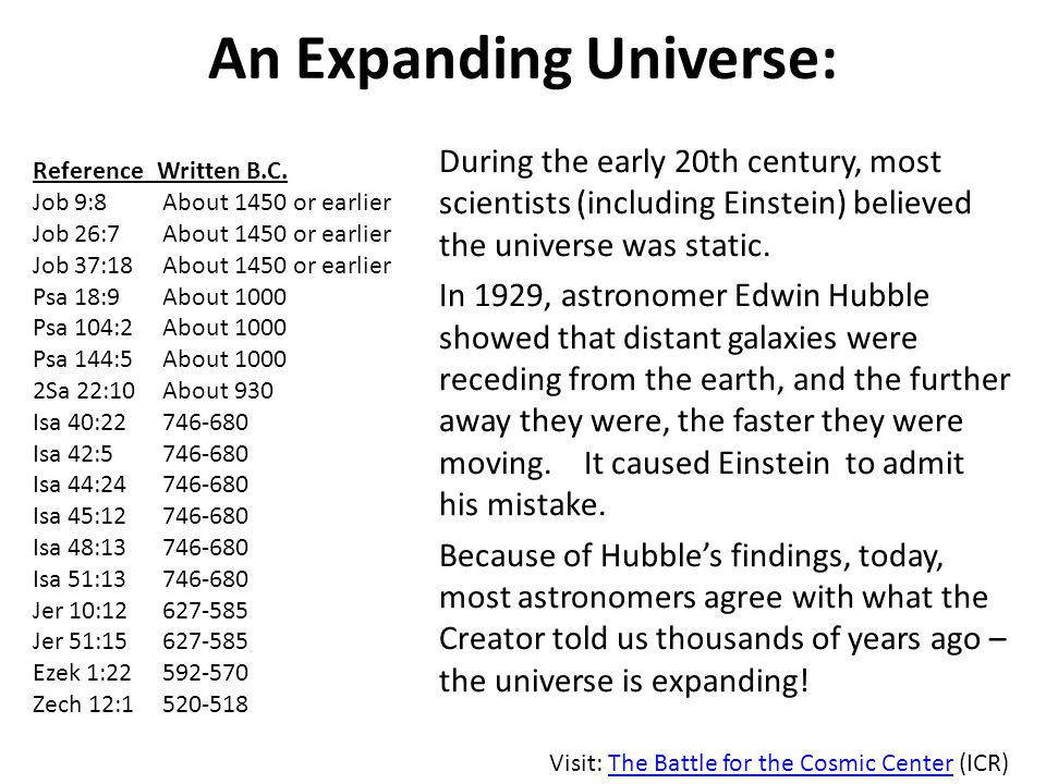 An Expanding Universe: