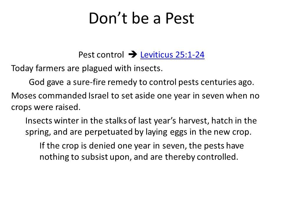 Don't be a Pest Pest control  Leviticus 25:1-24