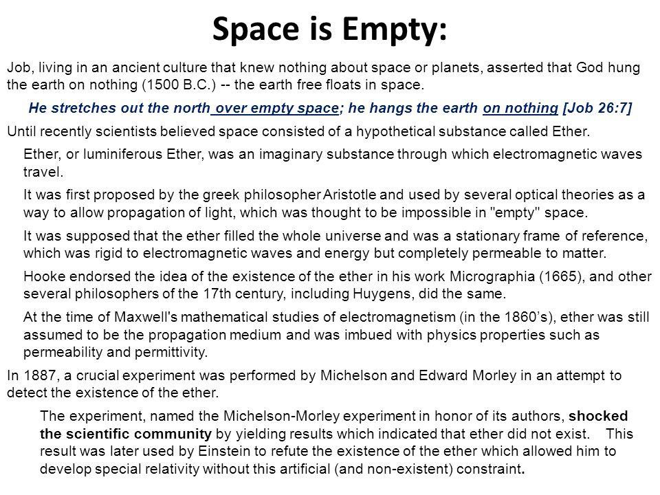 Space is Empty:
