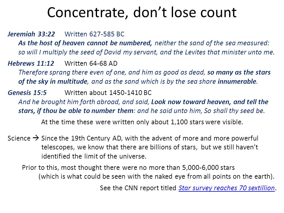 Concentrate, don't lose count