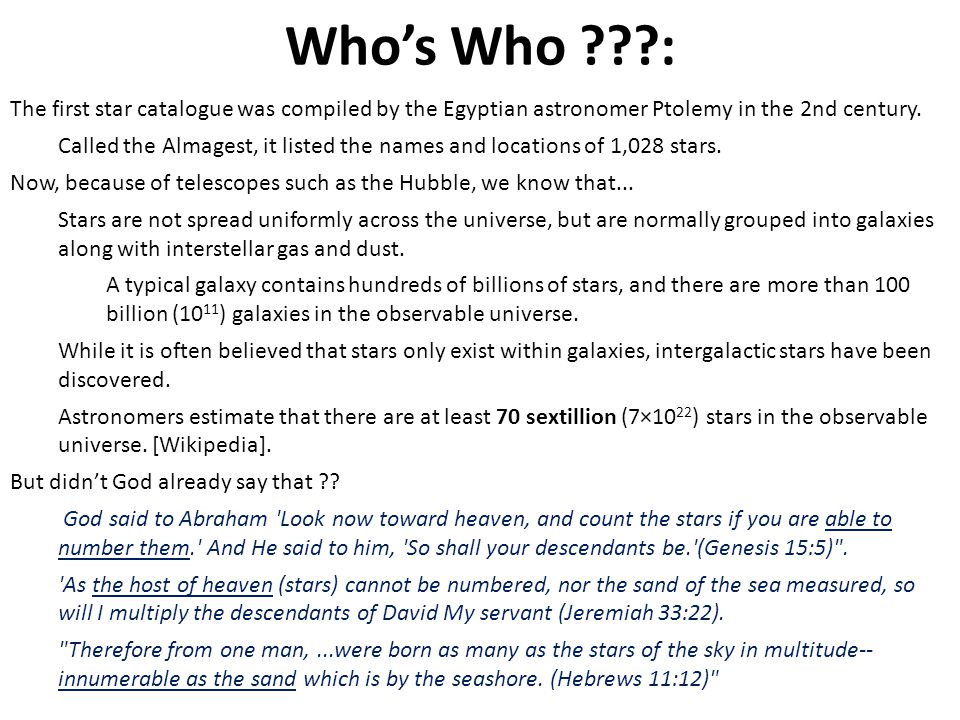 Who's Who : The first star catalogue was compiled by the Egyptian astronomer Ptolemy in the 2nd century.