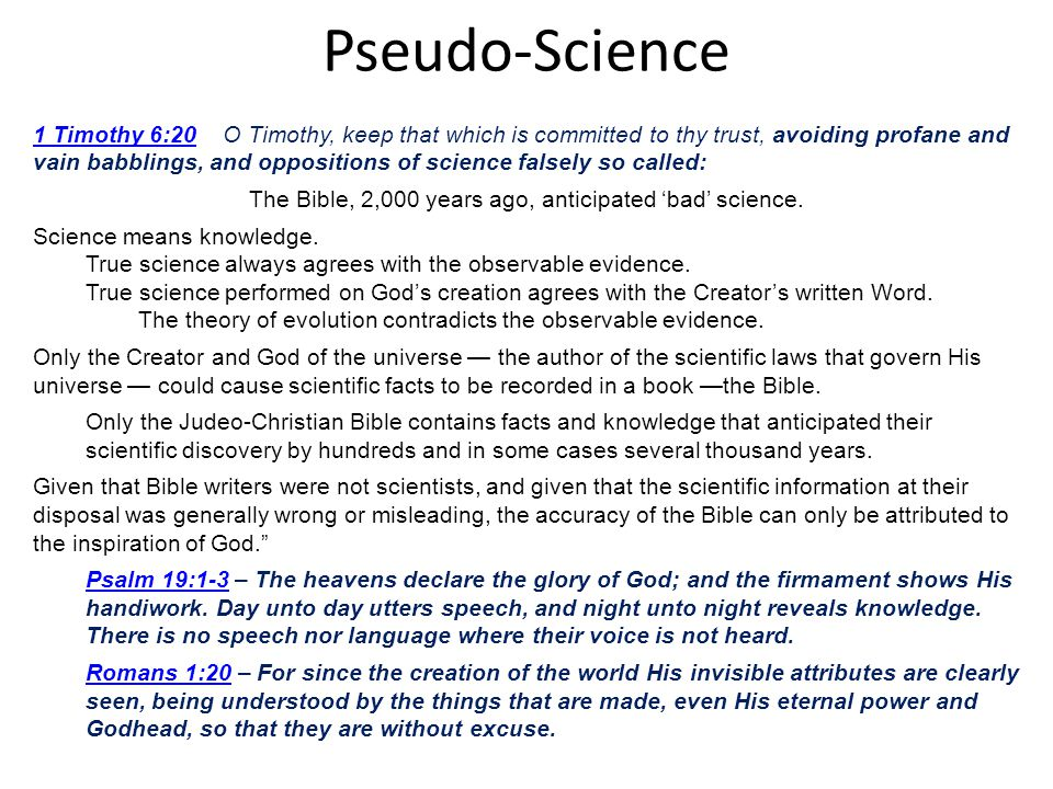 The Bible, 2,000 years ago, anticipated 'bad' science.
