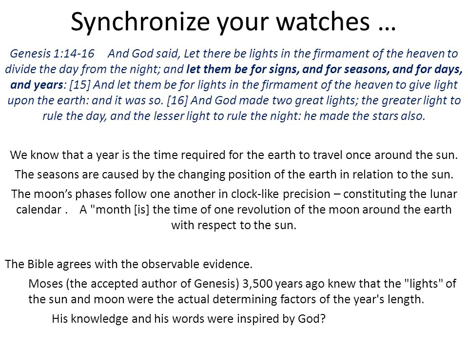 Synchronize your watches …