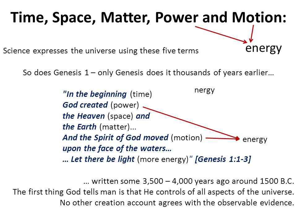 Time, Space, Matter, Power and Motion: