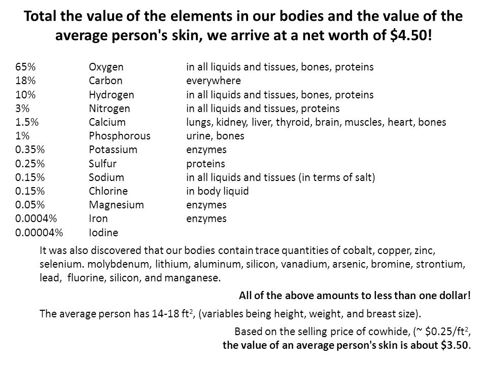 Total the value of the elements in our bodies and the value of the average person s skin, we arrive at a net worth of $4.50!