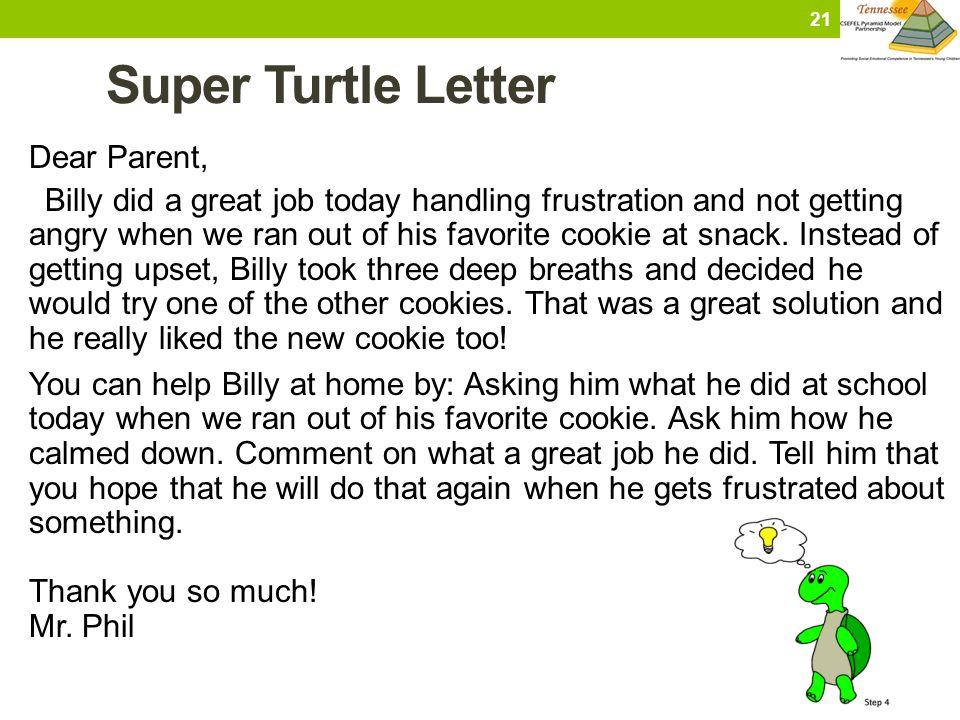 Super Turtle Letter Dear Parent,