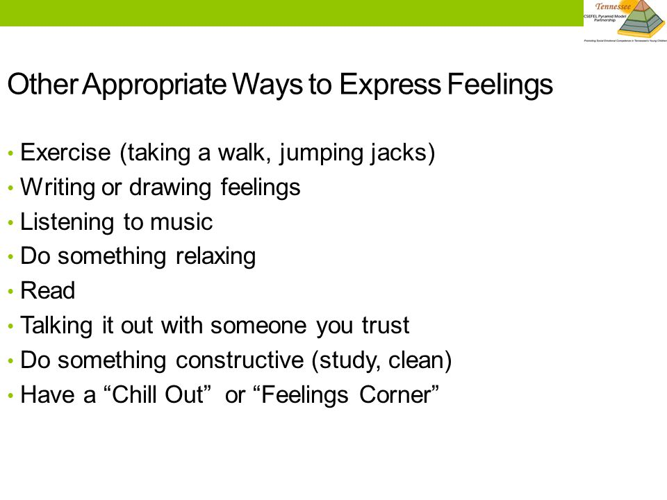 Other Appropriate Ways to Express Feelings