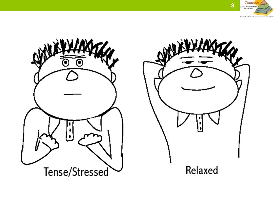 Other ways to teach calm and tense are: