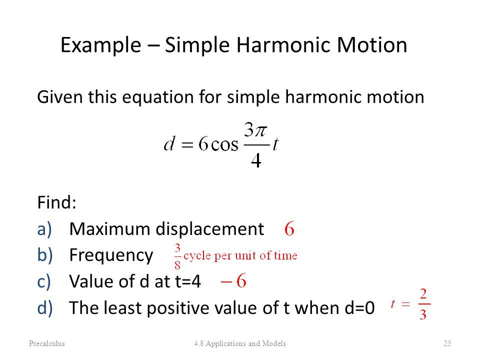 Example – Simple Harmonic Motion