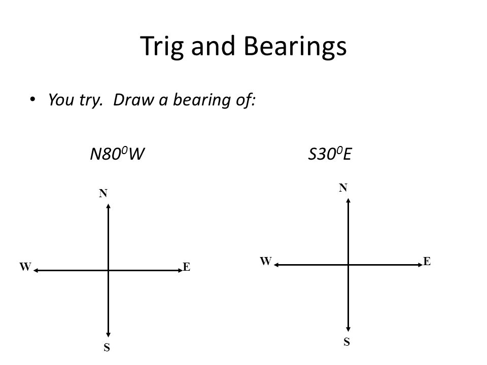 Trig and Bearings You try. Draw a bearing of: N800W S300E N S E W N S