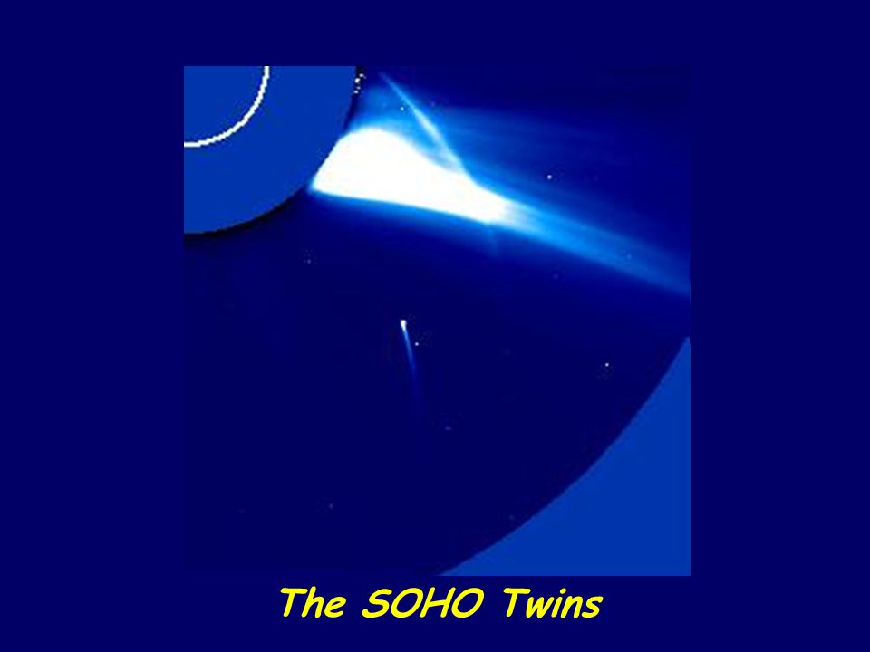 SOHO (NASA's Solar Orbiting High-energy Observatory) actually photographed the passage of two comets whose orbit brought them so close to the sun that they were pulled to their destruction by the immense solar gravity. The partial disc in the upper left is part of the observing hardware on the spacecraft: it serves to block out the intense light of the sun so that nearby solar phenomena, such as the mass ejection shown (bright streamer), may be studied.