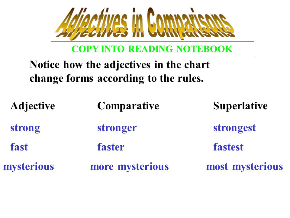 Adjectives in Comparisons COPY INTO READING NOTEBOOK