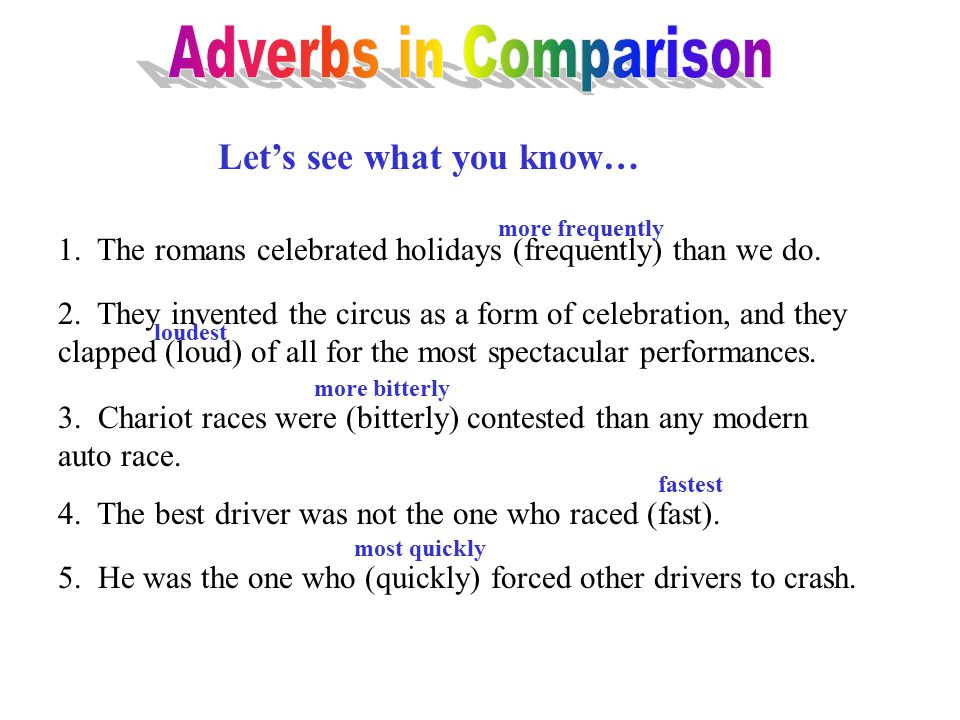 Adverbs in Comparison Let's see what you know…