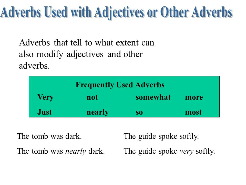 Adverbs Used with Adjectives or Other Adverbs Frequently Used Adverbs