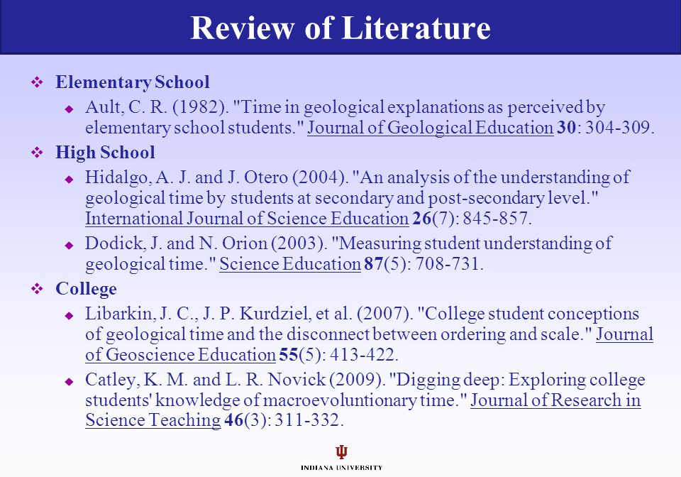 Review of Literature Elementary School