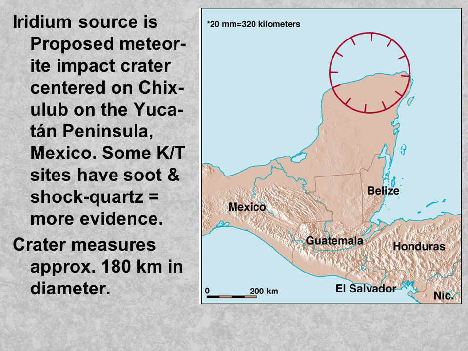 Iridium source is Proposed meteor-ite impact crater centered on Chix-ulub on the Yuca-tán Peninsula, Mexico. Some K/T sites have soot & shock-quartz = more evidence.