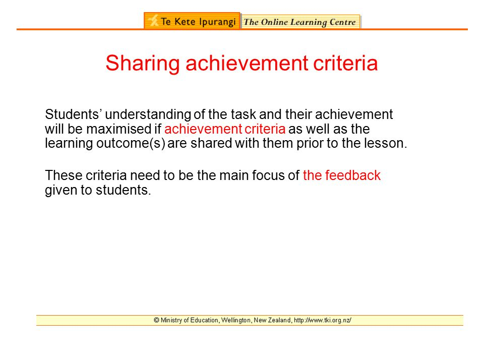 Sharing achievement criteria