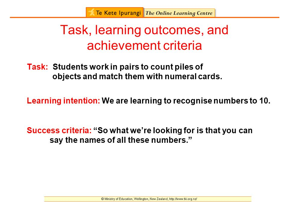 Task, learning outcomes, and achievement criteria