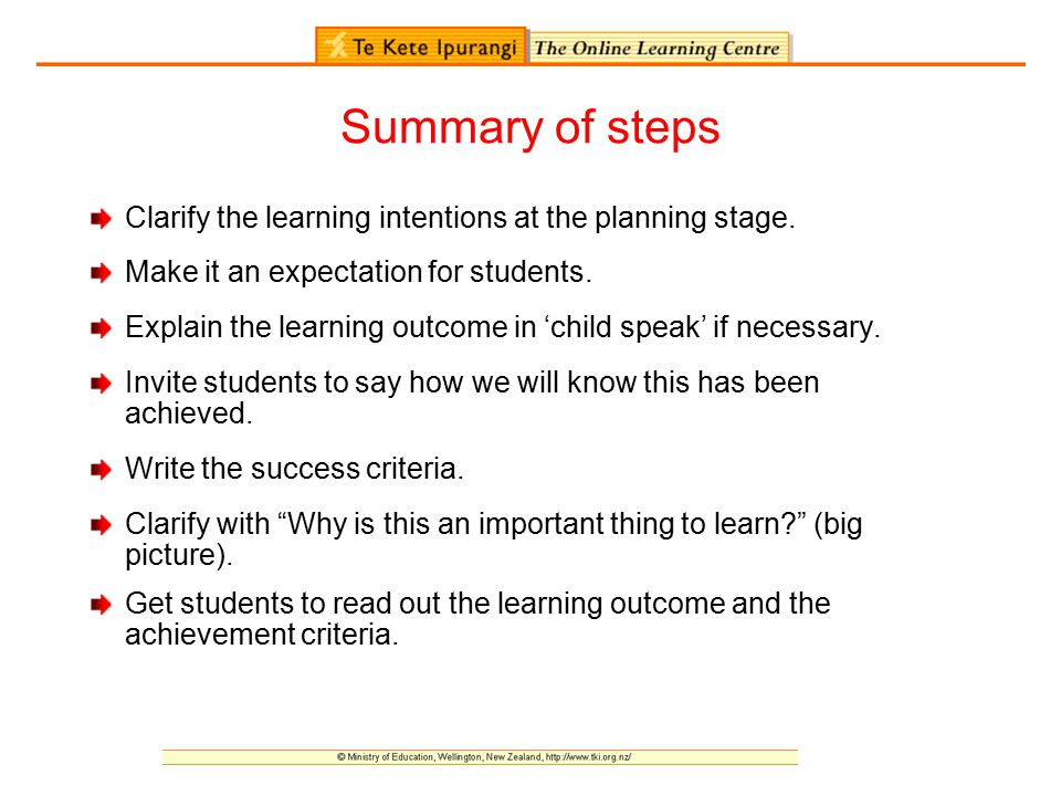 Summary of steps Clarify the learning intentions at the planning stage. Make it an expectation for students.