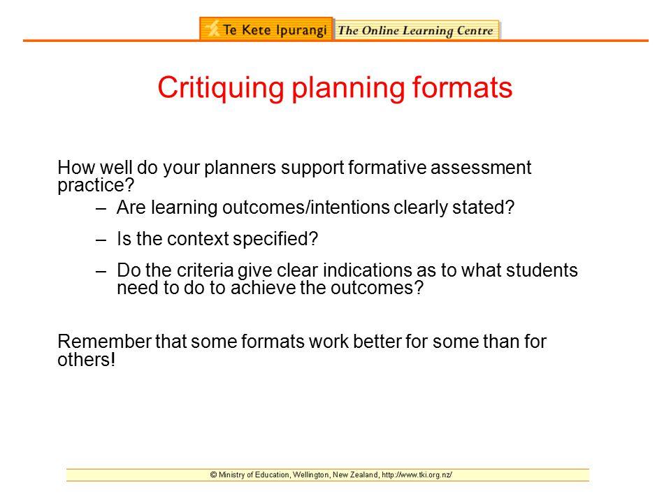 Critiquing planning formats