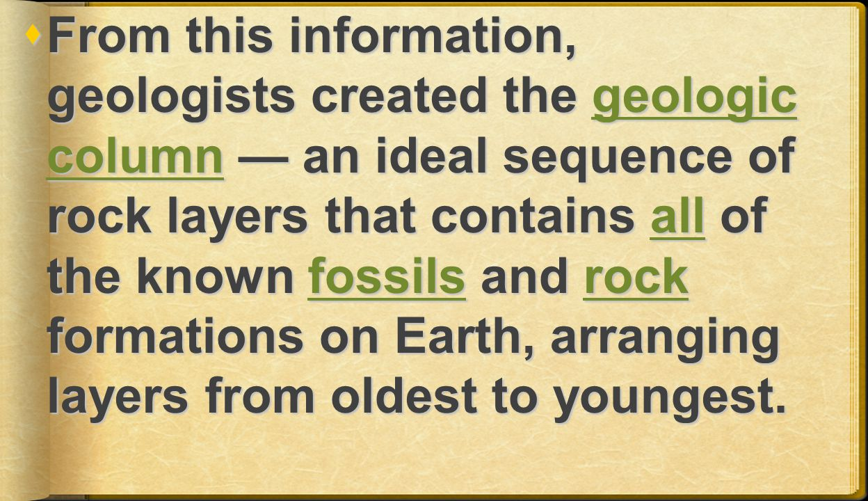 From this information, geologists created the geologic column — an ideal sequence of rock layers that contains all of the known fossils and rock formations on Earth, arranging layers from oldest to youngest.