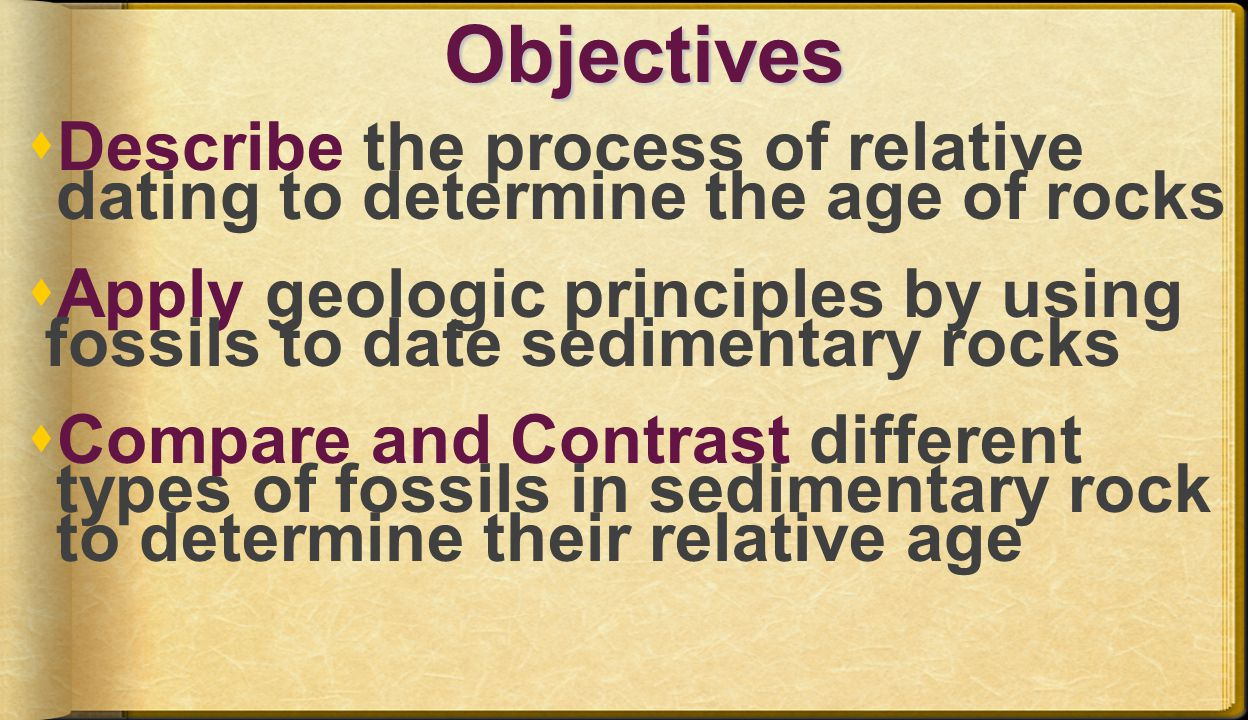 Objectives Describe the process of relative dating to determine the age of rocks. Apply geologic principles by using.