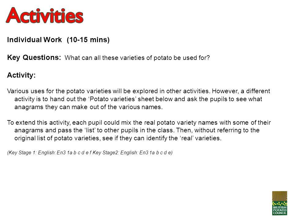 Individual Work (10-15 mins)