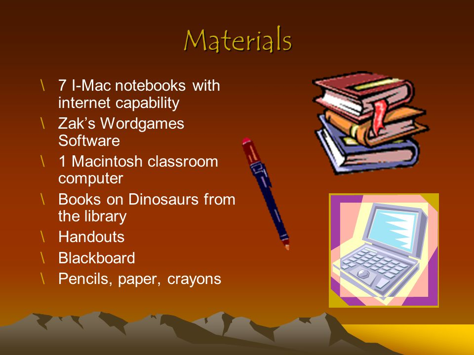 Materials 7 I-Mac notebooks with internet capability
