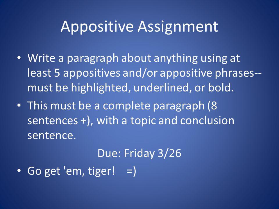 Appositive Assignment
