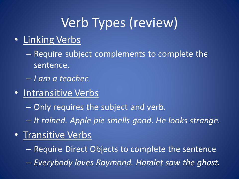 Verb Types (review) Linking Verbs Intransitive Verbs Transitive Verbs