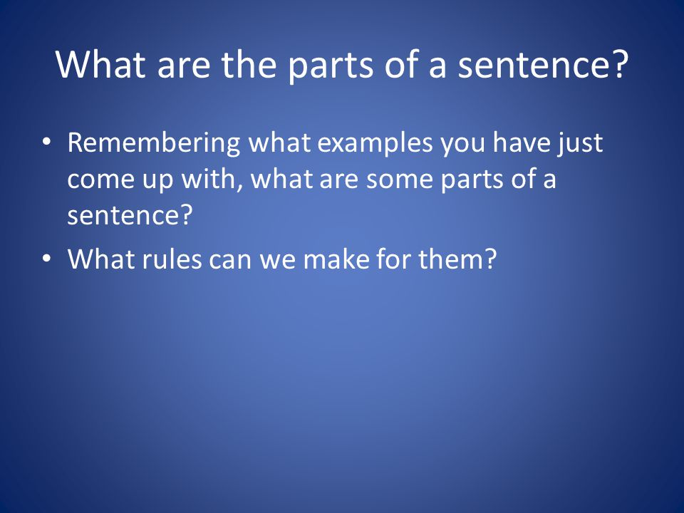 What are the parts of a sentence