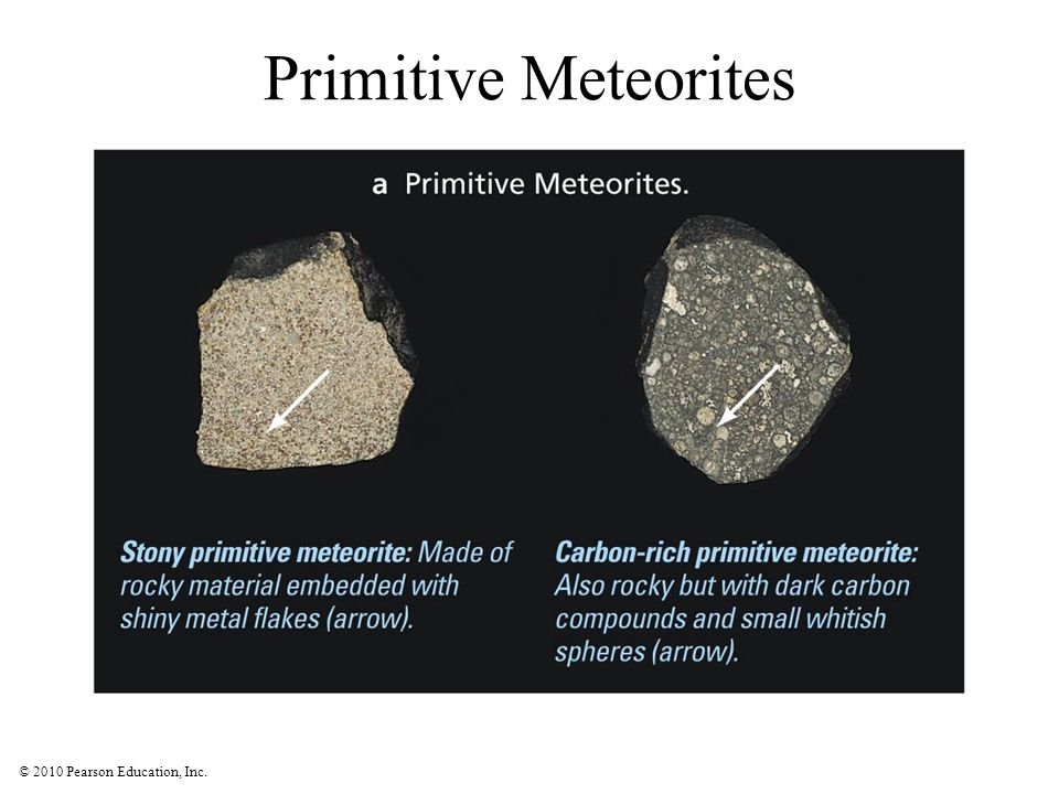 Primitive Meteorites Simple rocks and metal, occasionally carbon compounds and water. Shiny bits are metal flakes, first to condense.