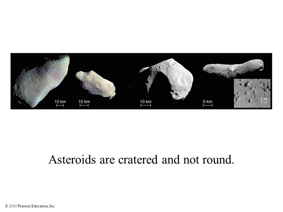 Asteroids are cratered and not round.