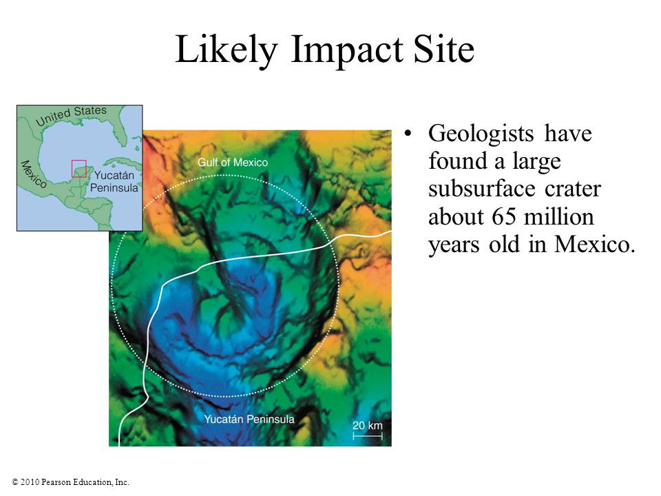 Likely Impact Site Geologists have found a large subsurface crater about 65 million years old in Mexico.