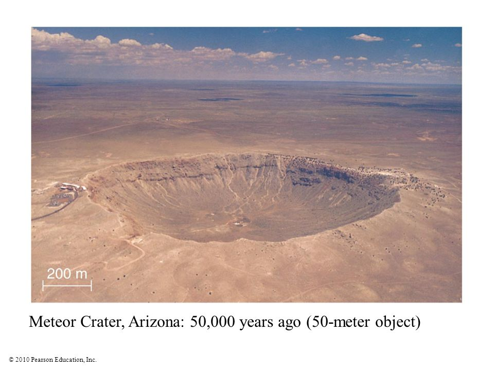 Meteor Crater, Arizona: 50,000 years ago (50-meter object)