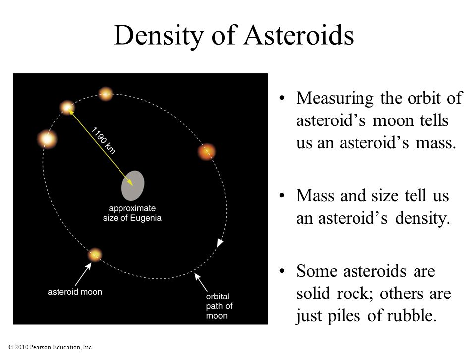 Density of Asteroids Measuring the orbit of asteroid's moon tells us an asteroid's mass. Mass and size tell us an asteroid's density.