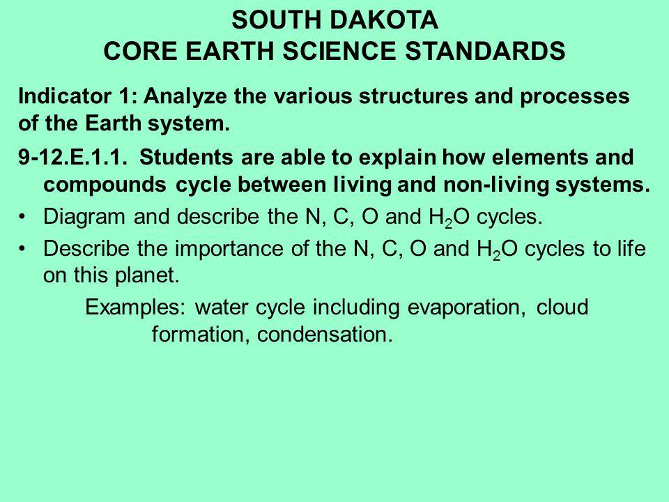 SOUTH DAKOTA CORE EARTH SCIENCE STANDARDS