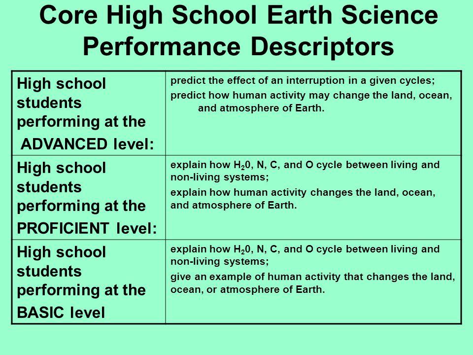 Core High School Earth Science Performance Descriptors