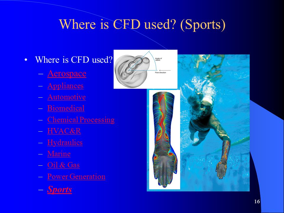 Where is CFD used (Sports)