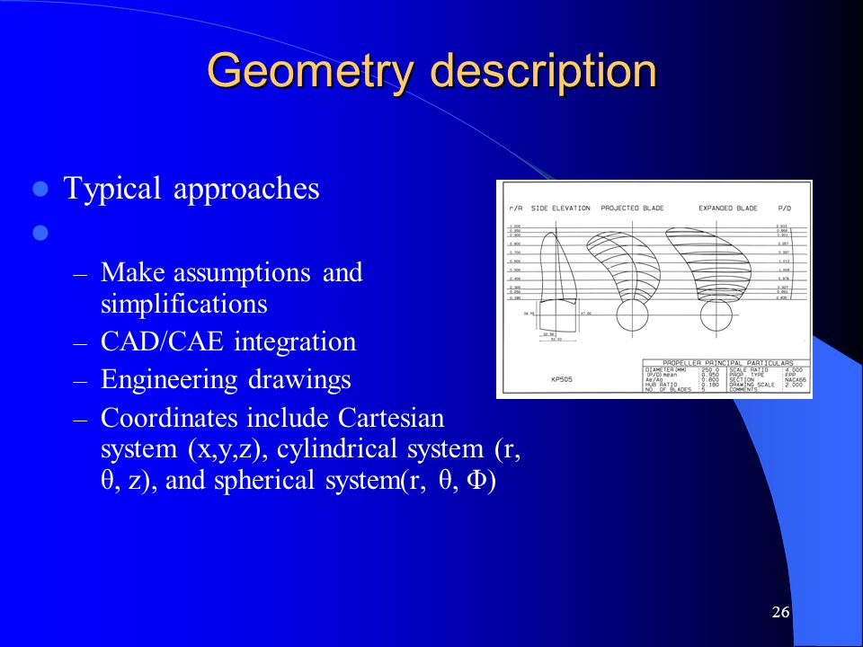 Geometry description Typical approaches