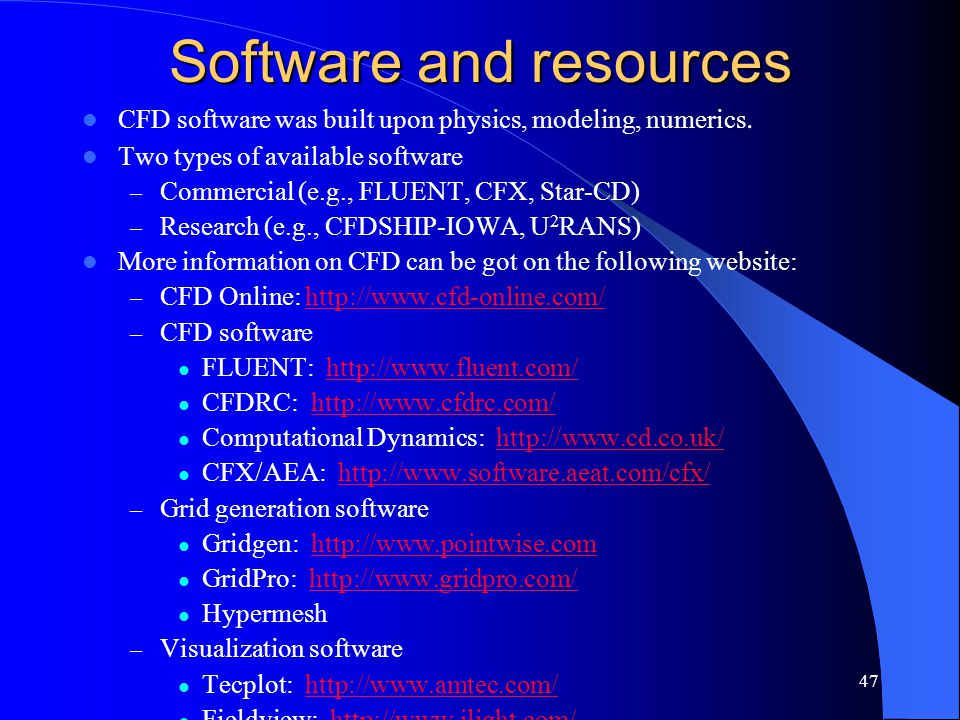 Software and resources