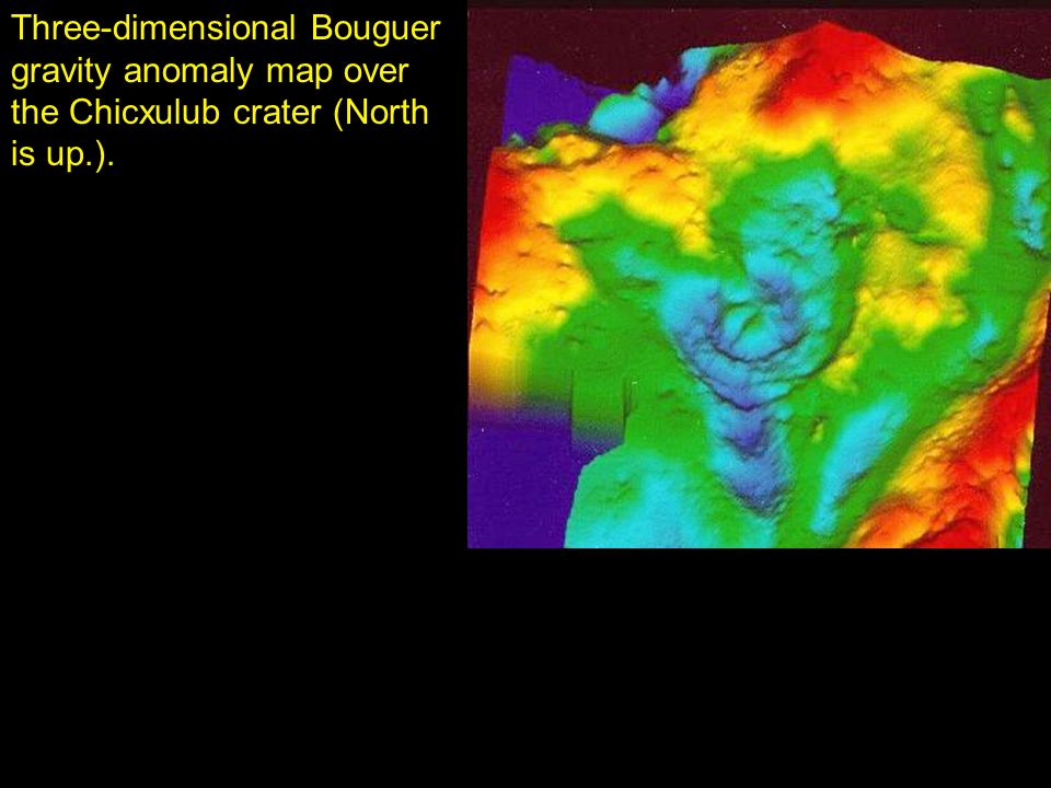 Three-dimensional Bouguer gravity anomaly map over the Chicxulub crater (North is up.).