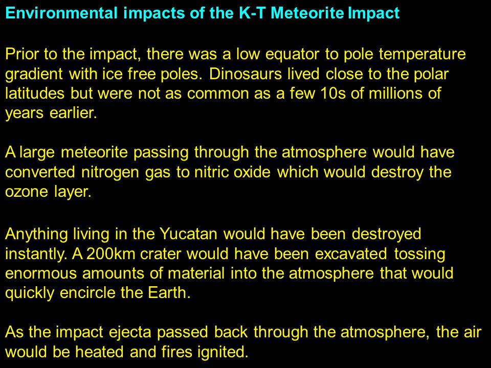 Environmental impacts of the K-T Meteorite Impact
