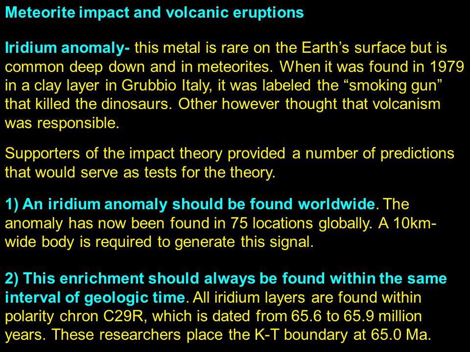 Meteorite impact and volcanic eruptions