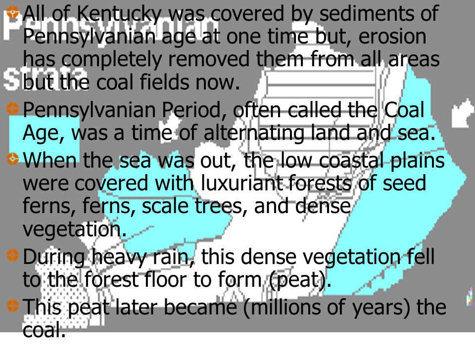 All of Kentucky was covered by sediments of Pennsylvanian age at one time but, erosion has completely removed them from all areas but the coal fields now.