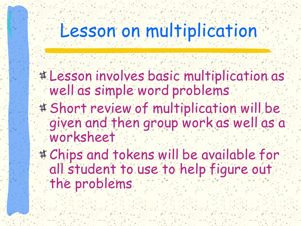 Lesson on multiplication