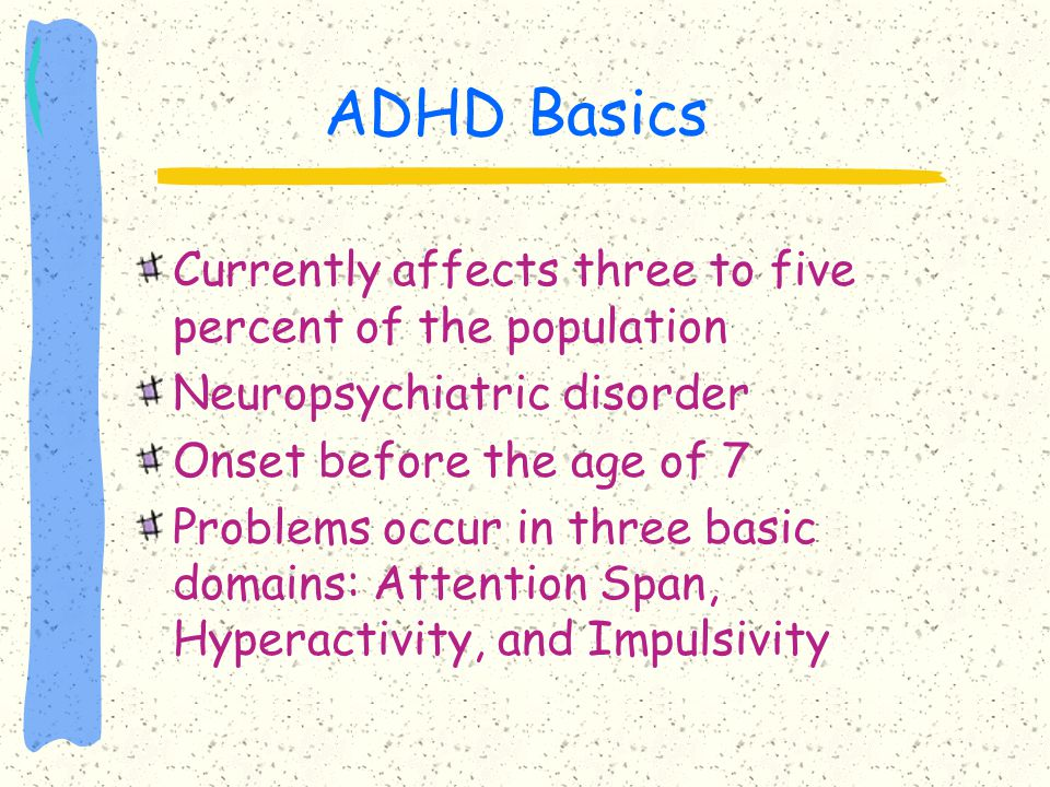 ADHD Basics Currently affects three to five percent of the population